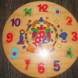 Деревянные часы вкладыши Клоун Р02. В наличии.