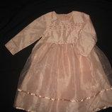 4-5 лет, нарядное жемчужное платье с органзой Coccobello