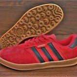 Красные мужские кроссовки Adidas Spezial 350. VIETNAM. Натуральный замш