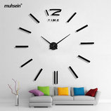 Настенные бескаркасные 3D-часы палочки, черные большие , 3M001B