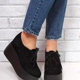 Туфли На шнуровке из натуральной кожи замши на платформе Новинка