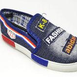 Мокасины для мальчика GFB 30, 31, 32, 33, 34, 35 р синий E3011-2 Слипоны для мальчика джинсовые си