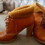 Кожаные ботиночки на овчине