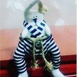 забавный заяц пират толстяк 23см. ручная работа , в тиле кукол Тильда