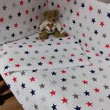 Детский постельный набор в кроватку 8 предметов Звезды , 8 цветов