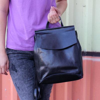 701a9b135216 Кожаный рюкзак-сумка трансформер Анжелика Black Glossy. Previous Next