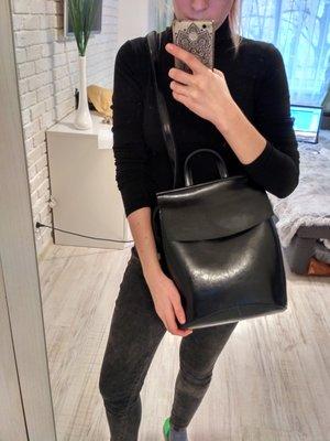 372b88de73b2 Кожаный рюкзак-сумка трансформер Анжелика Black Glossy. Previous Next