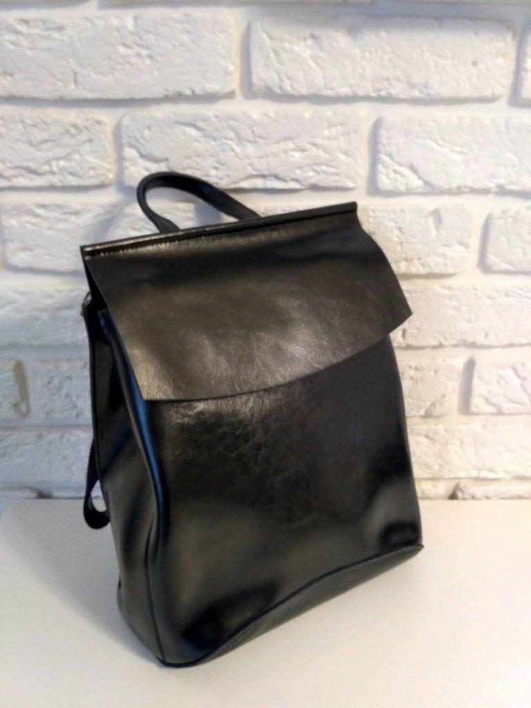 b39172673f4d Кожаный рюкзак-сумка трансформер Анжелика Black Glossy: 979 грн -  спортивные сумки, рюкзаки в Киеве, объявление №16309383 Клубок (ранее  Клумба)