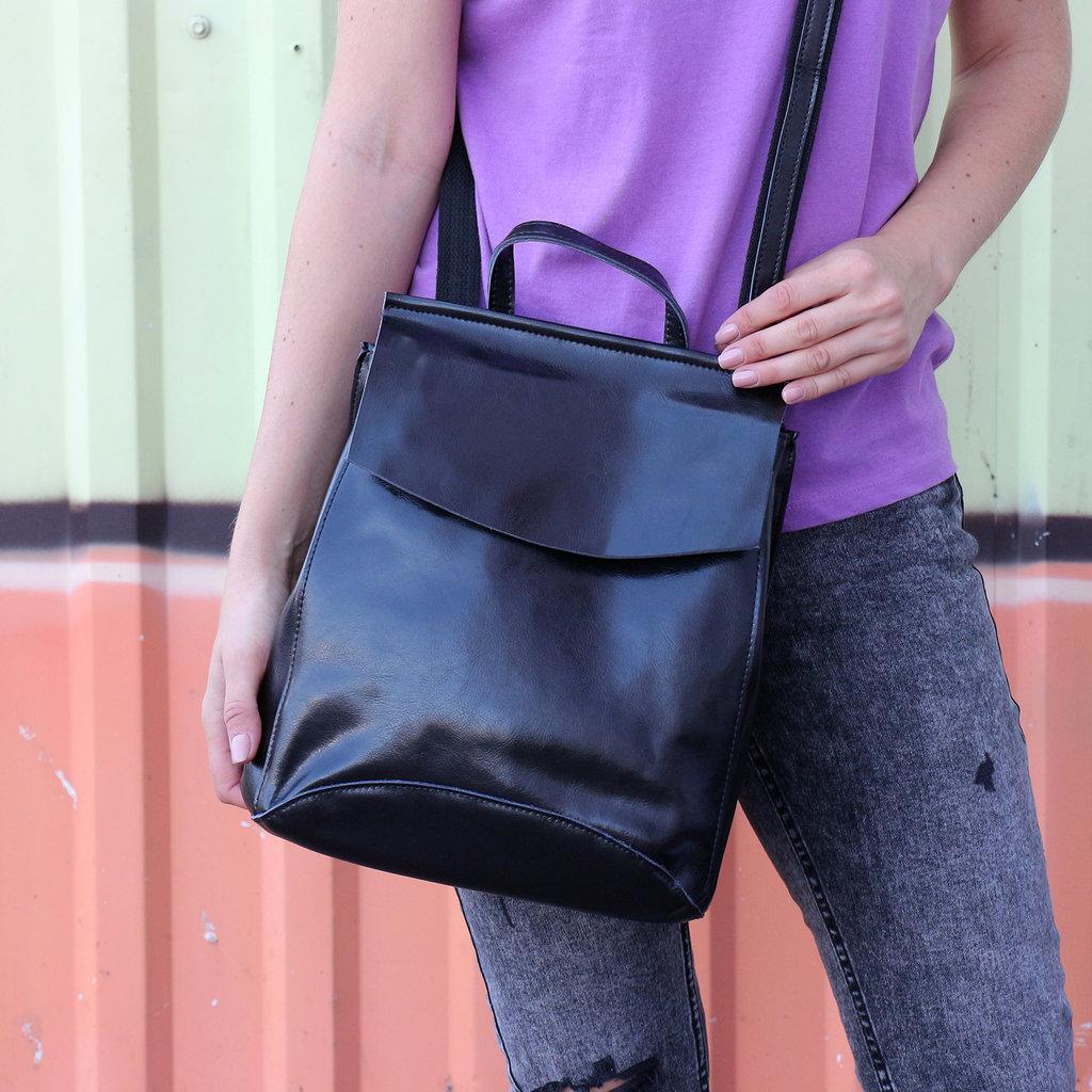 407193b712d5 Кожаный рюкзак-сумка трансформер Анжелика Black Glossy: 979 грн -  спортивные сумки, рюкзаки в Киеве, объявление №16309383 Клубок (ранее  Клумба)