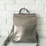 Кожаный рюкзак-сумка трансформер . Анжелика Silver