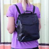 Кожаный рюкзак-сумка трансформер Анжелика Black Glossy
