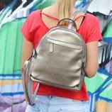 Классный кожаный рюкзак Карина Silver , 2 отделения