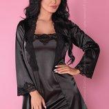 Комплект домашний халат, сорочка, стринги Jacqueline Black от Livia Corsetti