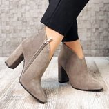 Элегантные ботинки на каблуке. Натуральная замша