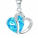 Ожерелье цепочка серебристого цвета с подвеской голубое сердце