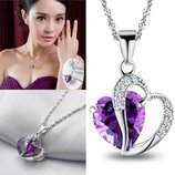Ожерелье цепочка серебристого цвета с подвеской фиолетовое сердце