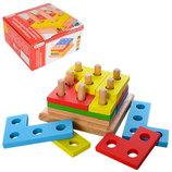 Деревянная игрушка геометрическая пирамида принцип тетриса
