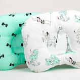 Детская ортопедическая подушка BabySoon Пудельки и бантики на мяте 22 х 26 см 163