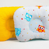 Подушка ортопедическая для новорожденных BabySoon Забавные совушки с оранжевым 22 х 26 см 165