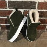 Акция Натуральные замшевые зимние ботинки / слипоны 32,33,34,35,36,37,38,39,40,41