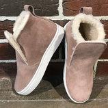 Натуральные замшевые зимние ботинки / слипоны 32,33,34,35,36,37,38,39,40,41