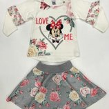 Красивый нарядный костюм для девочки Минни Маус белый Рост 98-128 см