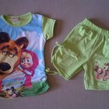 Летний костюм для девочки Маша и Медведь салатовый Рост 86-104 см