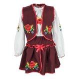 Детский школьный костюм вышиванка для девочки тройка