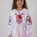 Детская вышиванка для девочки Орнамент красный