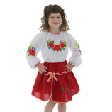 Вышиванки детские блуза Маки-Колоски от 3 до 6 лет