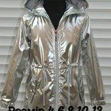 Куртка- Ветровка демисезонная на тонком синтепоне для маленьких модниц.Серебро.Р-р 4-12.Венгрия.