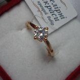 Медицинское золото Прекрасное кольцо Позолота 18К/585, фианит, р. 16,5 18,5 19