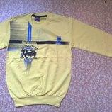 Реглан для Мальчика-Подростка в Школу из Двухнити Желтый Рост 152-176 см