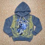 Толстовка с капюшоном Бэтмен для мальчика начес темно-серая рост 104-110 см