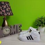 кроссовки кеды демисезонные адидас adidas на липучке белые черные 36-41
