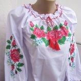 Вышиванка для девочки Маки с васильками 128-170р.