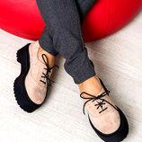 Акция Шикарные женские натуральные кожаные туфли / мокасины на платформе