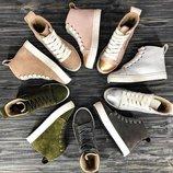 GRAY ANKLE Крутые кожаные демисезонные кеды/ ботинки / хайтопы 36,37,38,39,40,41