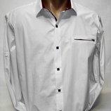Рубашка мужская Sa Men белая с бордовой отделкой M,L,XL,2XL