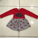 Трикотажное платье для девочки Поцелуйчик с Длинным рукавом Рост 86-128 см