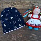 Трикотажная хлопковая шапка Микки Маус для девочки