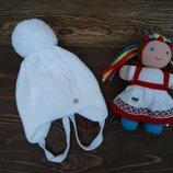 Трикотажная шапка с завязками Полька для девочки