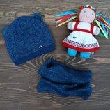 Трикотажный набор шапка и хомут для девочки