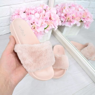 Женские меховые розовые шлепанцы