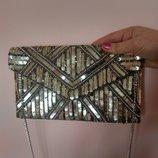 Шикарный клатч,сумочка конверт с пайетками и бисером, бренд New Look