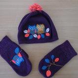 Шапка 6 л варешки набор комплект фиолетовый сова