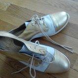 Лоферы туфли золотистые кожа