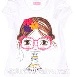футболка для девочки белая LC Waikiki / Лс Вайкики с девочкой на груди