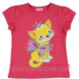 футболка для девочки красная LC Waikiki / Лс Вайкики с котиком на груди