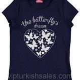 футболка для девочки синяя LC Waikiki / Лс Вайкики с сердцем и бабочками на груди
